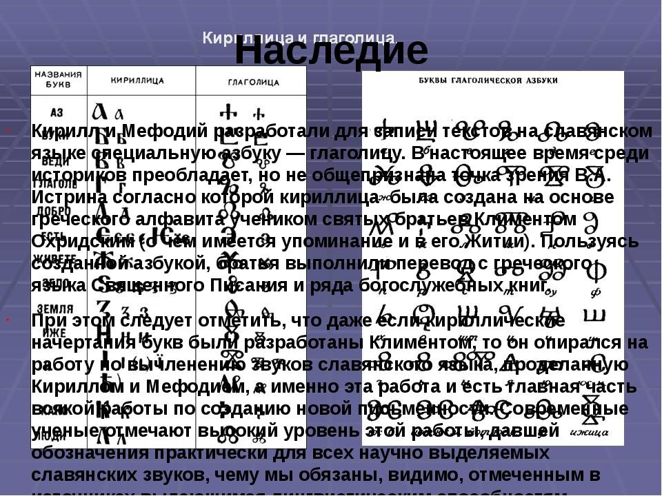 Наследие Кирилл и Мефодий разработали для записи текстов на славянском языке...
