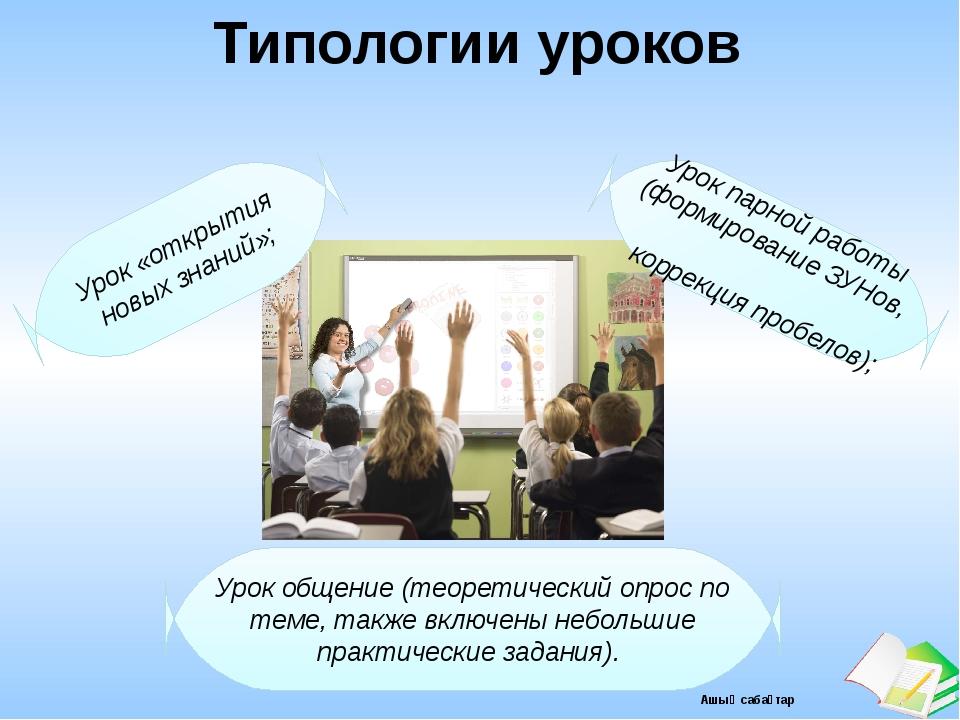 Типологии уроков Урок «открытия новых знаний»; Урок парной работы (формирован...