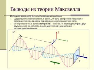 Выводы из теории Максвелла Из теории Максвелла вытекает ряд важных выводов: С