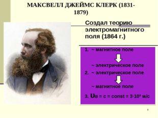 МАКСВЕЛЛ ДЖЕЙМС КЛЕРК (1831-1879) * ~ магнитное поле ~ электрическое поле ~ э