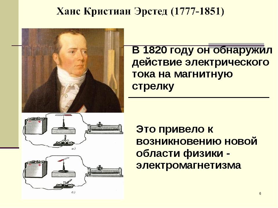 * В 1820 году он обнаружил действие электрического тока на магнитную стрелку....