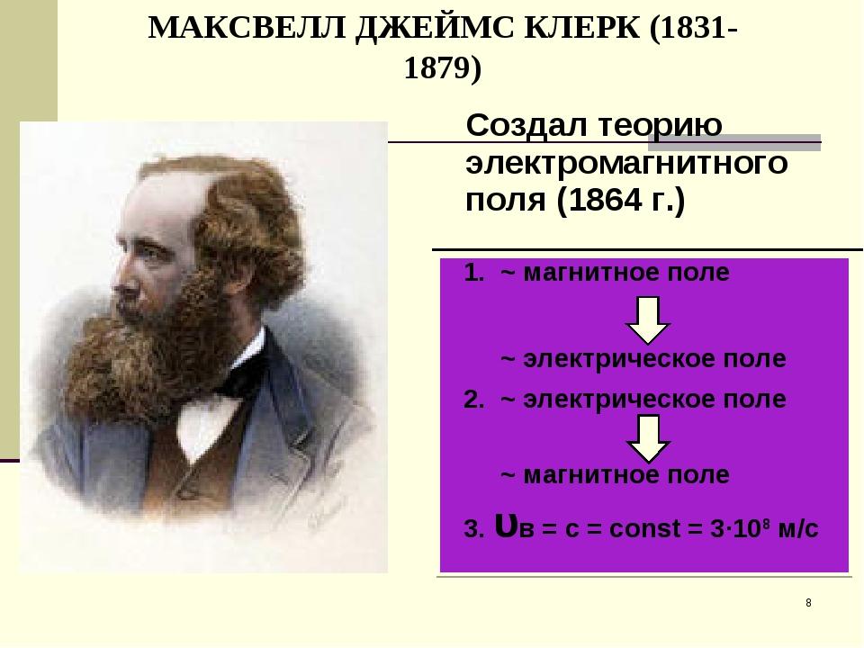 МАКСВЕЛЛ ДЖЕЙМС КЛЕРК (1831-1879) * ~ магнитное поле ~ электрическое поле ~ э...