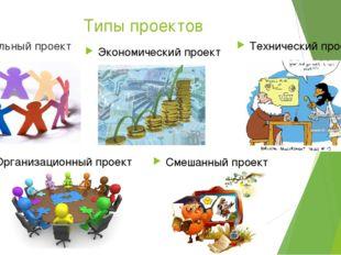 Типы проектов Социальный проект Экономический проект Технический проект Смеша
