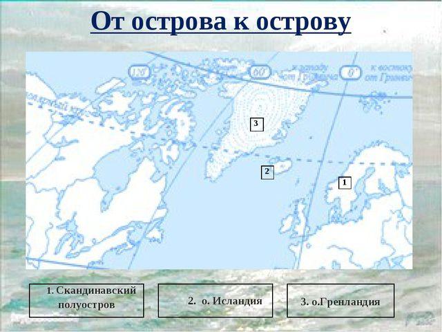 От острова к острову 3 2 1 3. о.Гренландия 2. о. Исландия 1. Скандинавский по...