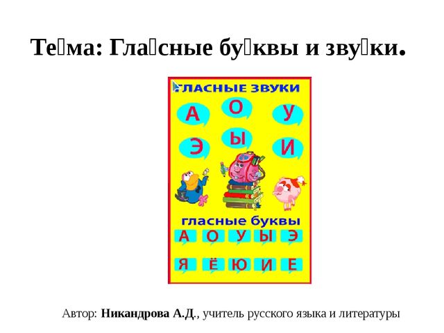 Те́ма: Гла́сные бу́квы и зву́ки. Автор: Никандрова А.Д., учитель русского язы...