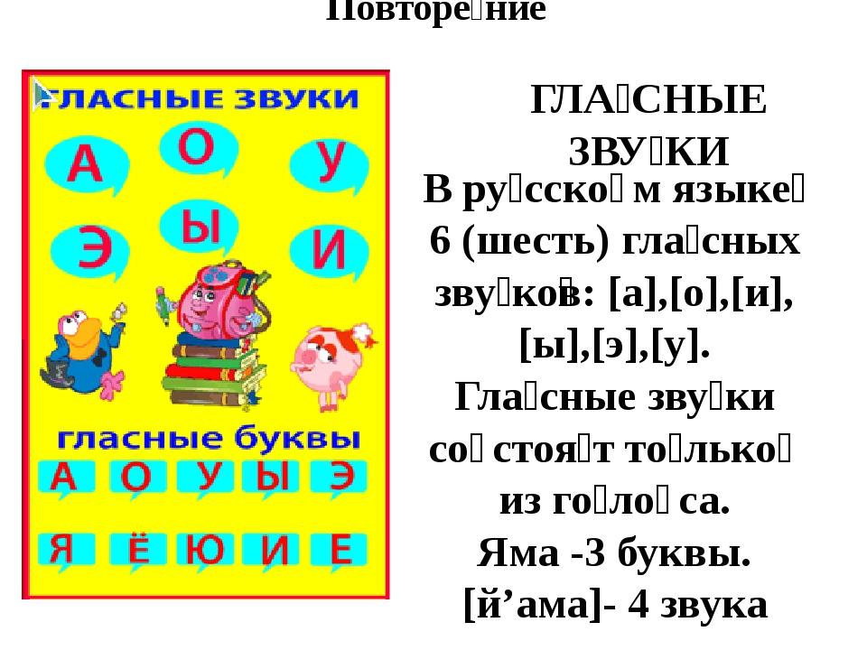 Повторе́ние В ру́сско̄м языке́ 6 (шесть) гла́сных зву́ко̅в: [а],[о],[и],[ы],[...
