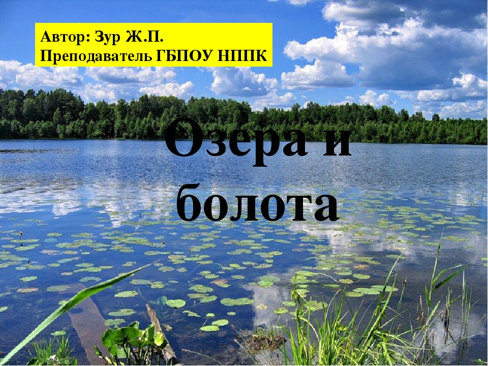 Озера и болота Автор: Зур Ж.П. Преподаватель ГБПОУ НППК