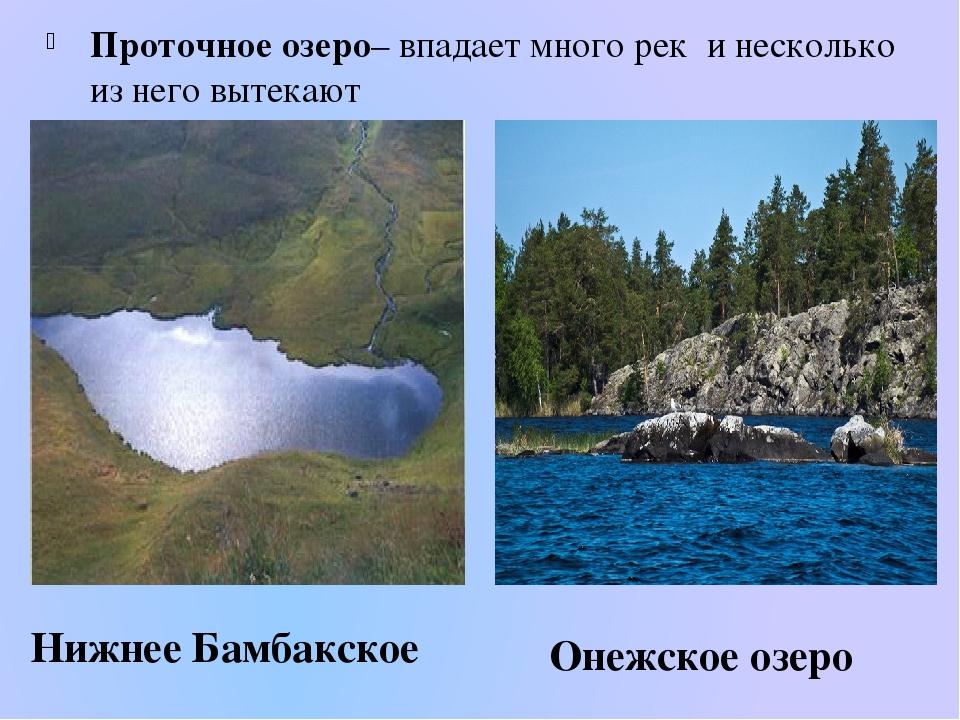 Проточное озеро– впадает много рек и несколько из него вытекают Нижнее Бамбак...