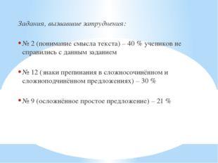 Задания, вызвавшие затруднения: № 2 (понимание смысла текста) – 40 % учеников
