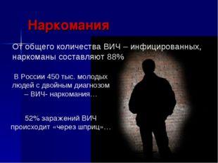 Наркомания От общего количества ВИЧ – инфицированных, наркоманы составляют 88