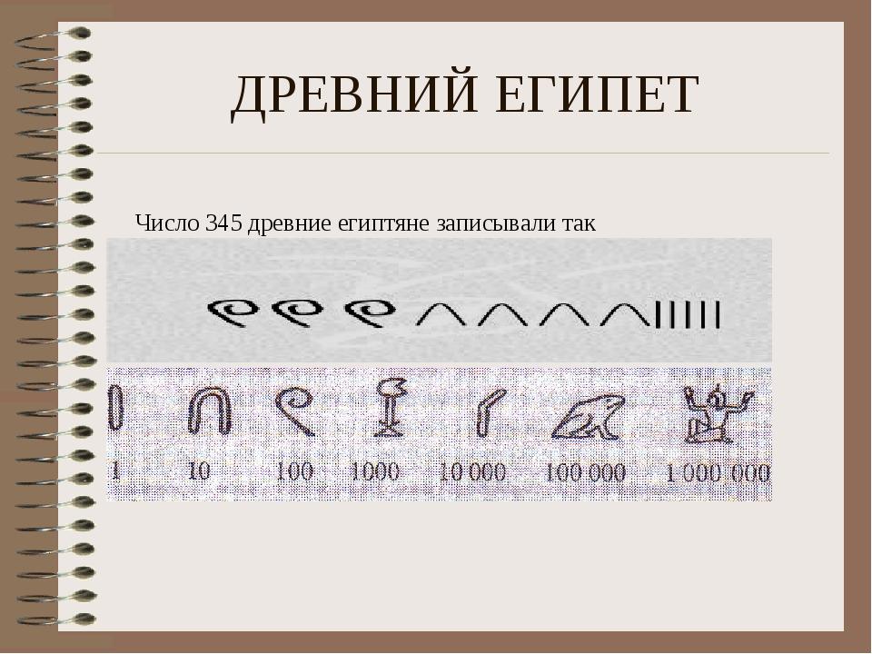 ДРЕВНИЙ ЕГИПЕТ Число 345 древние египтяне записывали так