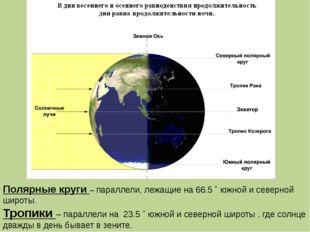 Полярные круги – параллели, лежащие на 66.5 ˚ южной и северной широты. Тропик