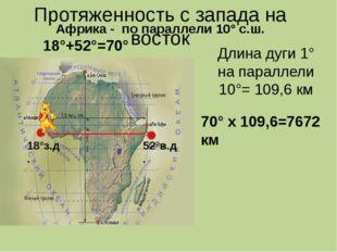 Протяженность с запада на восток Длина дуги 1° на параллели 10°= 109,6 км 18°
