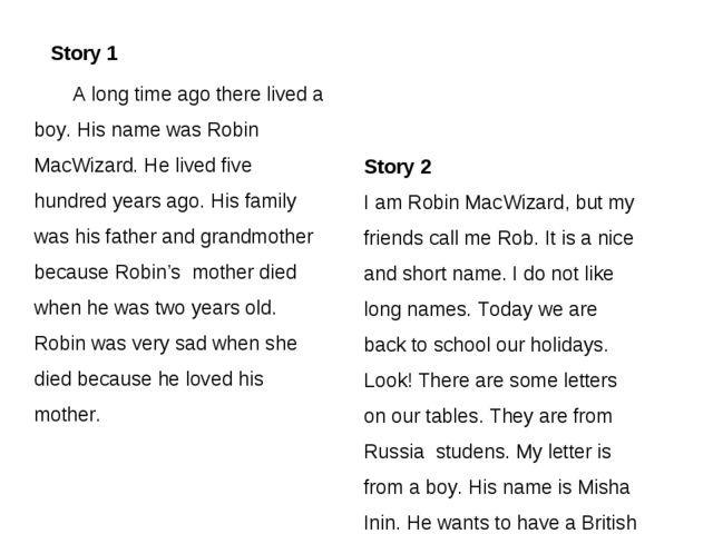 Story 2 I am Robin MacWizard, but my friends call me Rob. It is a nice and s...