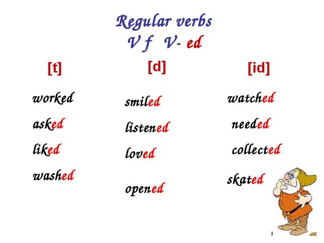 Regular verbs V → V- ed [t] worked asked liked washed [id] watched needed col...