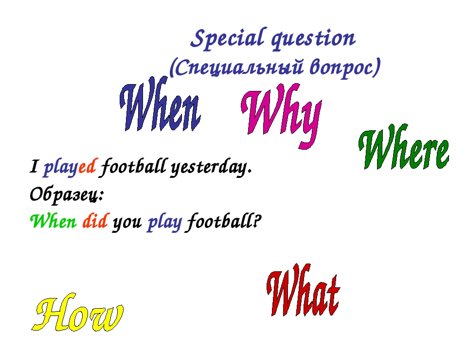 I played football yesterday. Образец: When did you play football? Special qu...