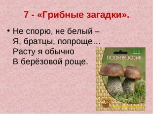 7 - «Грибные загадки». Не спорю, не белый – Я, братцы, попроще… Расту я обы