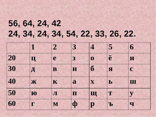 56, 64, 24, 42 24, 34, 24, 34, 54, 22, 33, 26, 22. 123456 20цезоё...