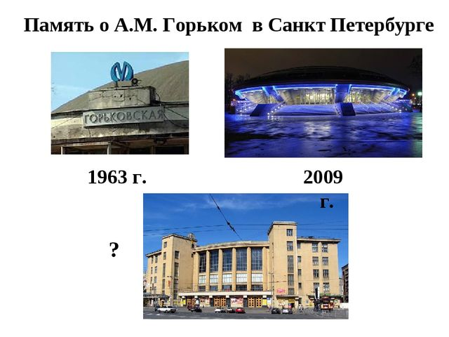 Память о А.М. Горьком в Санкт Петербурге 1963 г. 2009 г. ?