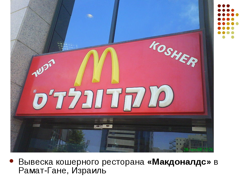 Вывеска кошерного ресторана «Макдоналдс» в Рамат-Гане, Израиль