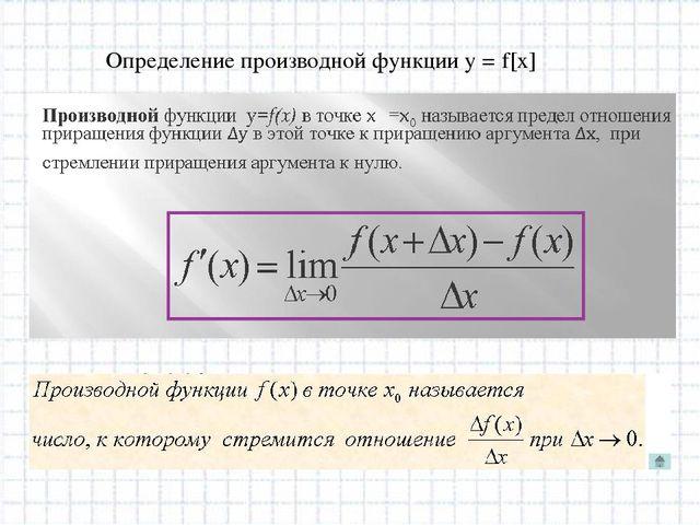 Определение производной функции у = f[x]