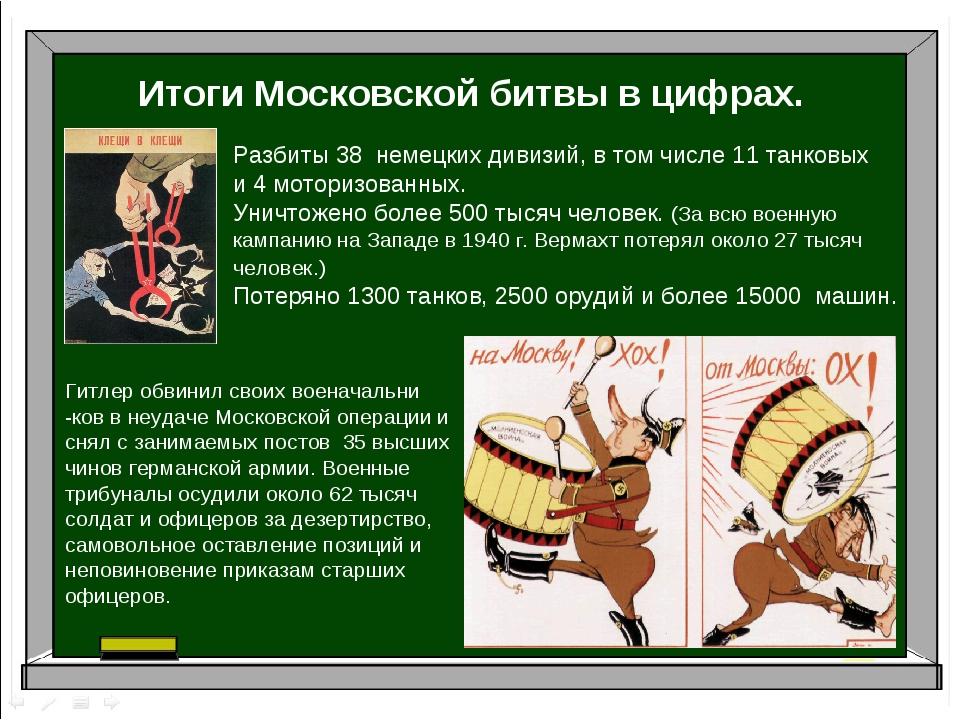 Итоги Московской битвы в цифрах. Разбиты 38 немецких дивизий, в том числе 11...