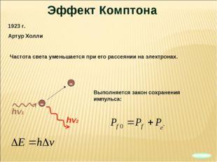 Эффект Комптона 1923 г. Артур Холли hv2 Частота света уменьшается при его рас