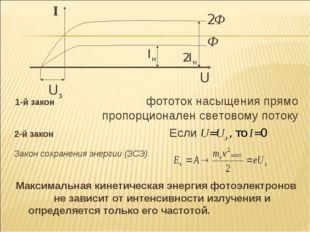 1-й закон  фототок насыщения прямо пропорционален световому потоку 2-й зако