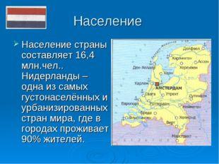 Население Население страны составляет 16,4 млн.чел.. Нидерланды – одна из сам
