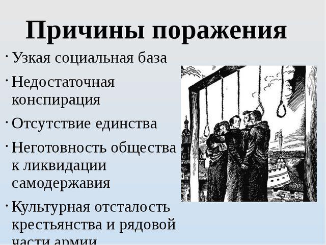 Причины поражения Узкая социальная база Недостаточная конспирация Отсутствие...