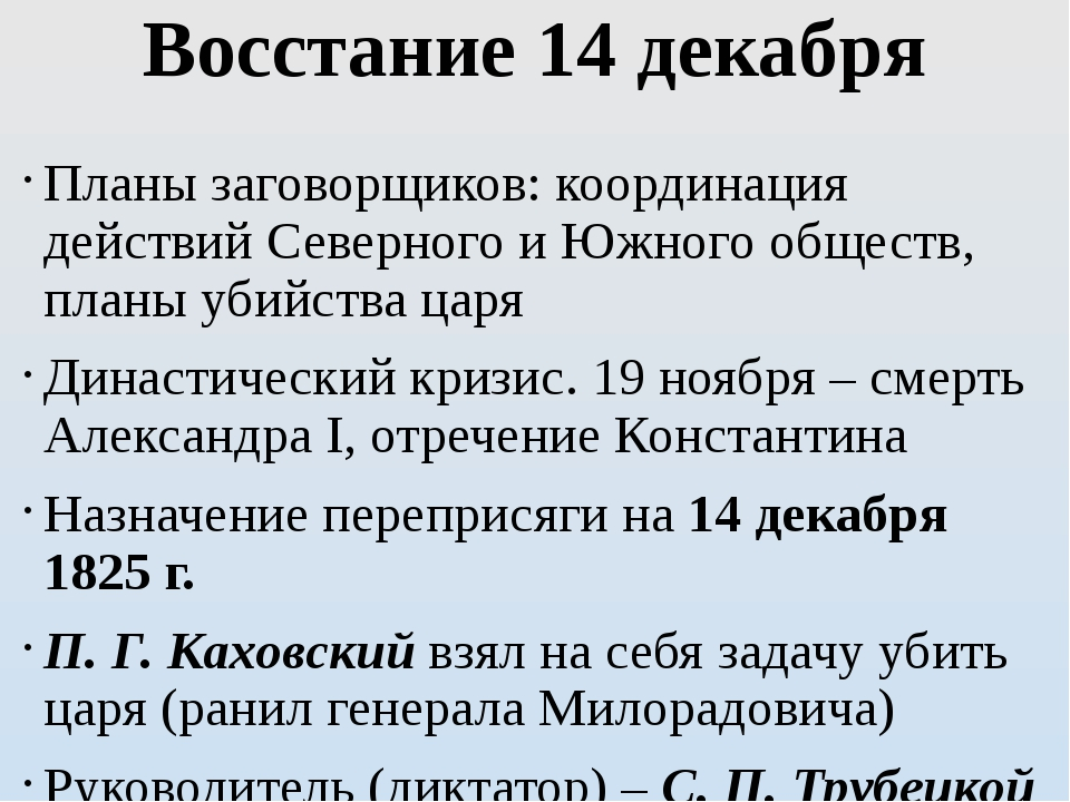 Восстание 14 декабря Планы заговорщиков: координация действий Северного и Южн...