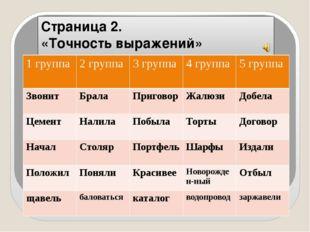 Страница 2. «Точность выражений» 1 группа 2 группа 3 группа 4 группа 5 группа