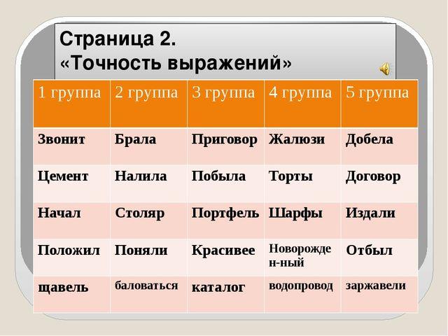 Страница 2. «Точность выражений» 1 группа 2 группа 3 группа 4 группа 5 группа...