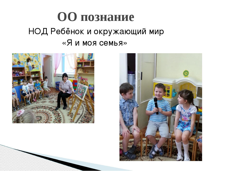 НОД Ребёнок и окружающий мир «Я и моя семья» ОО познание