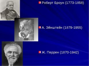 Роберт Броун (1773-1858) А. Эйнштейн (1879-1955) Ж. Перрен (1870-1942)
