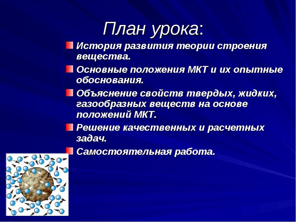 План урока: История развития теории строения вещества. Основные положения МК...