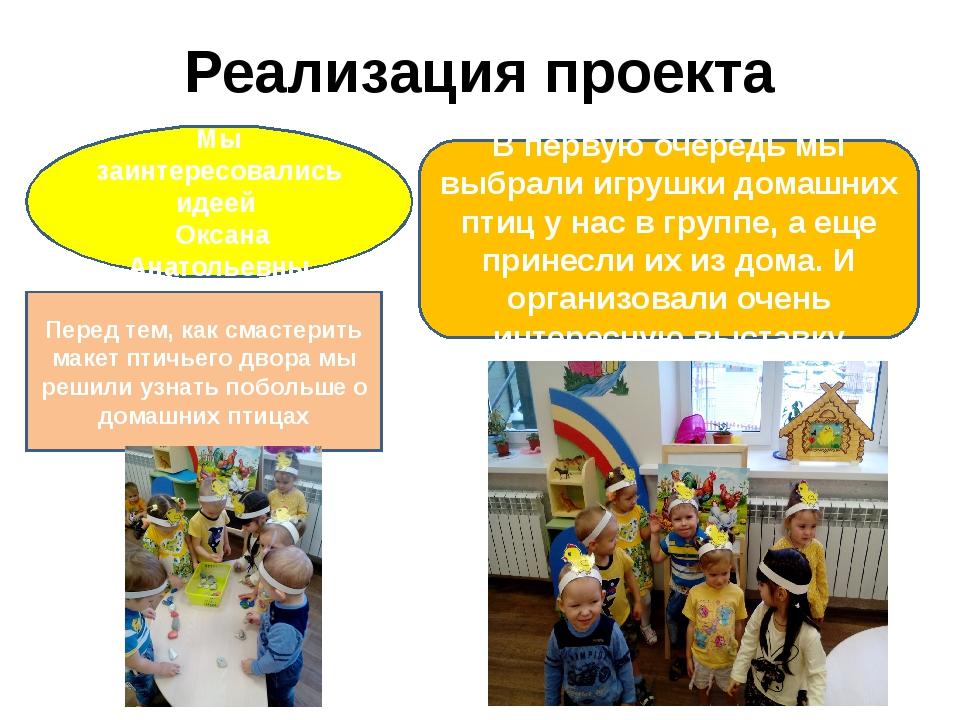 Реализация проекта В первую очередь мы выбрали игрушки домашних птиц у нас в...