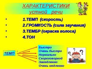 ХАРАКТЕРИСТИКИ устной речи 1.ТЕМП (скорость) 2.ГРОМКОСТЬ (сила звучания) 3.ТЕ