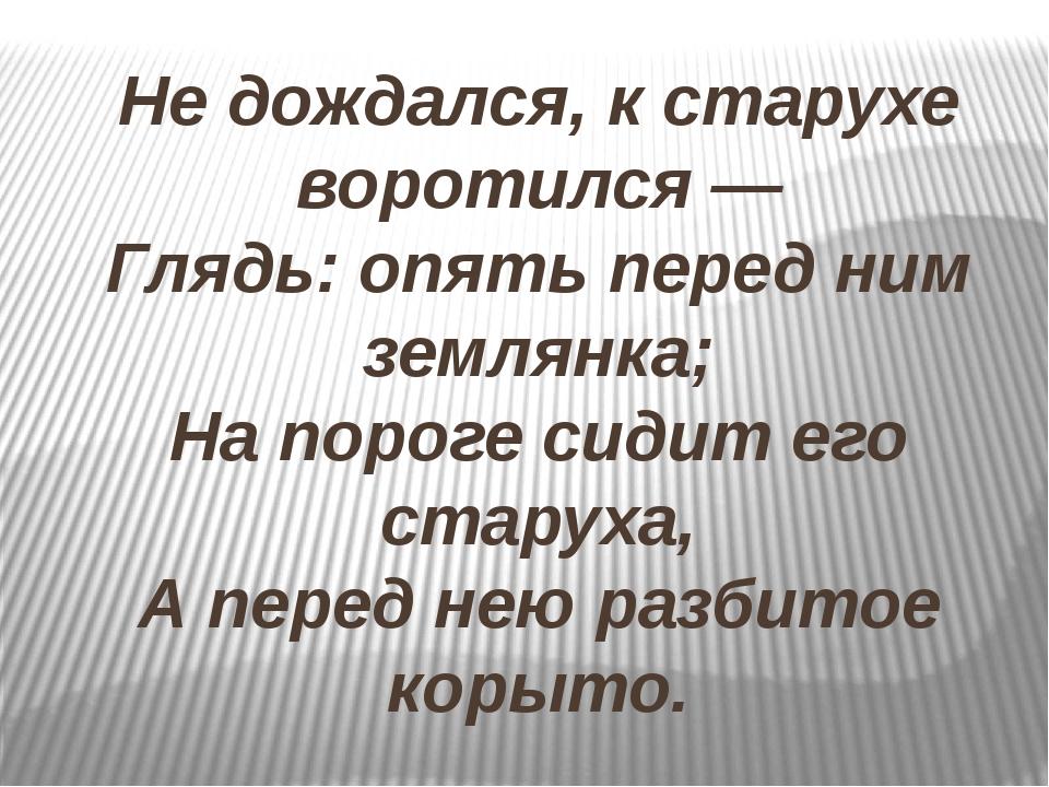 Не дождался, к старухе воротился — Глядь: опять перед ним землянка; На пороге...