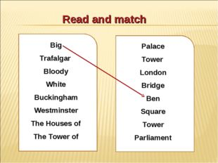 Read and match Big Trafalgar Bloody White Buckingham Westminster The Houses o