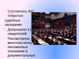 Состоялось 403 открытых судебных заседания Допрошено 116 свидетелей Рассмотре