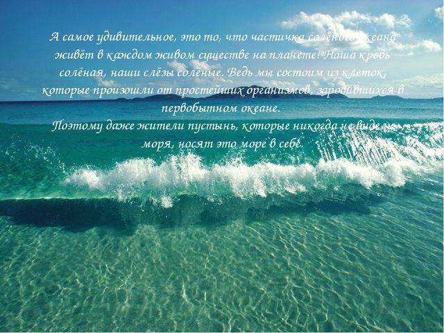 А самое удивительное, это то, что частичка солёного океана живёт в каждом жив...