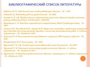 БИБЛИОГРАФИЧЕСКИЙ СПИСОК ЛИТЕРАТУРЫ Барболин М. П., Методологические основы