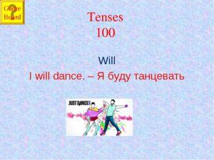 Tenses 100 Will I will dance. – Я буду танцевать Game Board