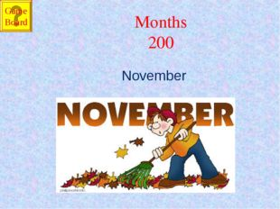 Months 200 November Game Board