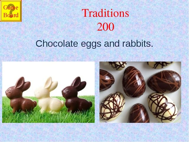 Traditions 200 Chocolate eggs and rabbits. Game Board