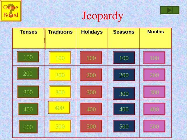 Jeopardy 100 200 300 400 500 100 100 100 100 200 200 200 200 300 300 300 300...