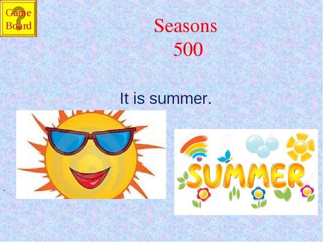 "Seasons 500 It is summer. "" Game Board"