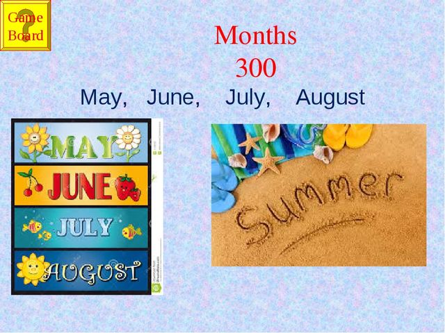 Months 300 May, June, July, August Game Board