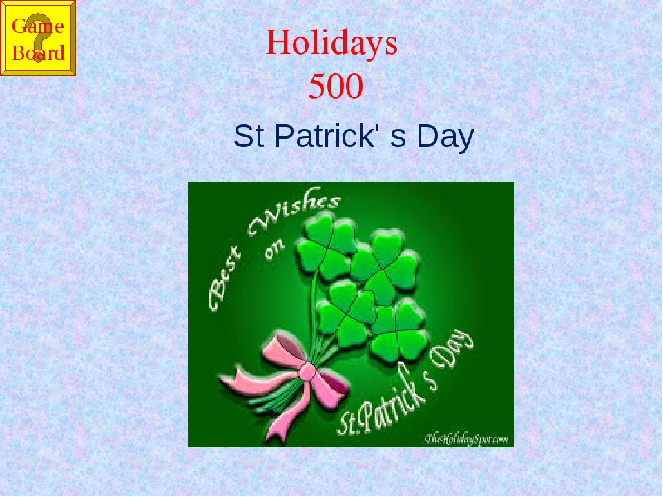 Holidays 500 St Patrick' s Day Game Board